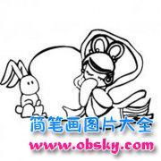 幼儿中秋节主题简笔画图片:嫦娥与玉兔