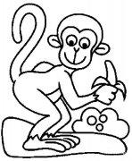 儿童简笔画:吃香蕉的猴子