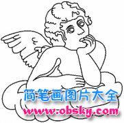 小学生天使简笔画图片:沉思的天使