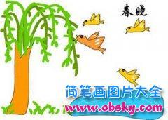 幼儿简笔画:池塘边的柳树小鸟飞