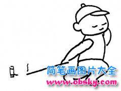 鞭炮简笔画:小孩点鞭炮