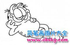 儿童睡觉的加菲猫简笔画图片
