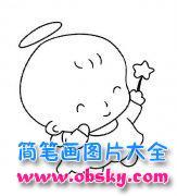 儿童可爱超萌天使简笔画图片
